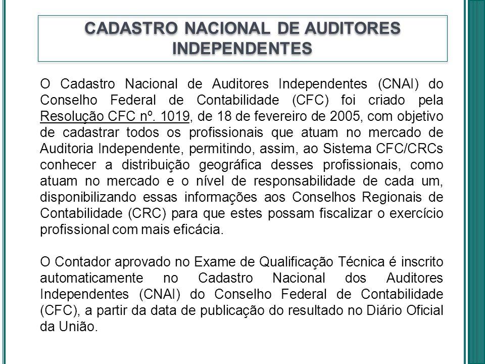 CADASTRO NACIONAL DE AUDITORES INDEPENDENTES O Cadastro Nacional de Auditores Independentes (CNAI) do Conselho Federal de Contabilidade (CFC) foi cria