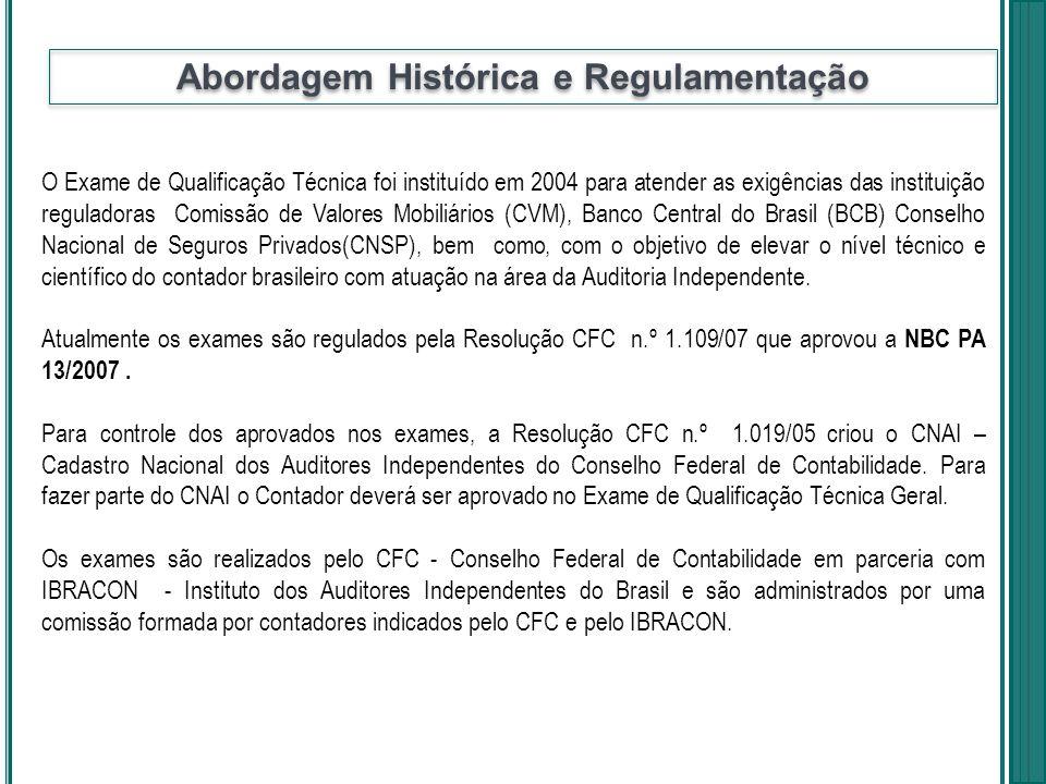 O Exame de Qualificação Técnica foi instituído em 2004 para atender as exigências das instituição reguladoras Comissão de Valores Mobiliários (CVM), B