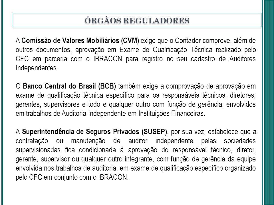 A Comissão de Valores Mobiliários (CVM) exige que o Contador comprove, além de outros documentos, aprovação em Exame de Qualificação Técnica realizado