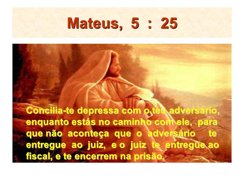 Mateus, 5 : 25 Concilia-te depressa com o teu adversário, enquanto estás no caminho com ele, para que não aconteça que o adversário te entregue ao jui
