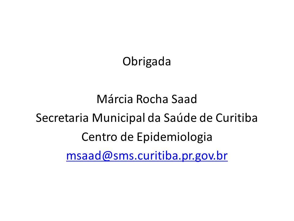 Obrigada Márcia Rocha Saad Secretaria Municipal da Saúde de Curitiba Centro de Epidemiologia msaad@sms.curitiba.pr.gov.br