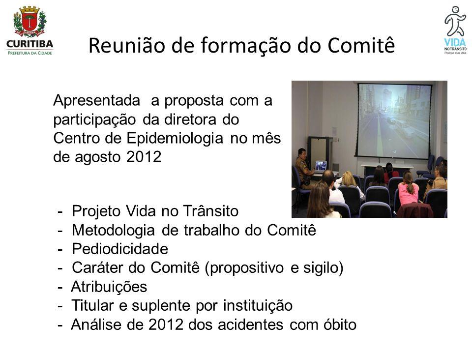 Reunião de formação do Comitê - Projeto Vida no Trânsito - Metodologia de trabalho do Comitê - Pediodicidade - Caráter do Comitê (propositivo e sigilo