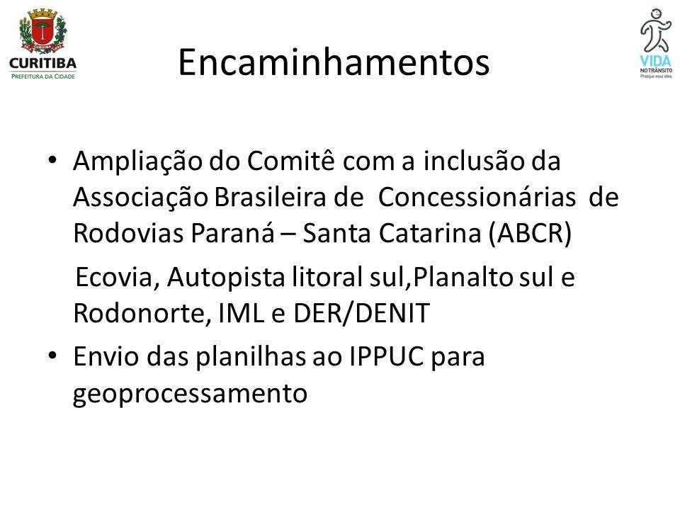Encaminhamentos Ampliação do Comitê com a inclusão da Associação Brasileira de Concessionárias de Rodovias Paraná – Santa Catarina (ABCR) Ecovia, Auto