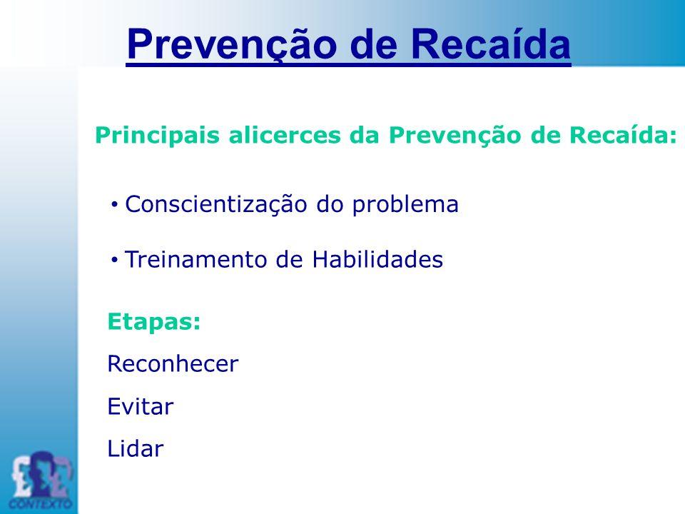 Principais alicerces da Prevenção de Recaída: Conscientização do problema Prevenção de Recaída Treinamento de Habilidades Etapas: Reconhecer Evitar Li
