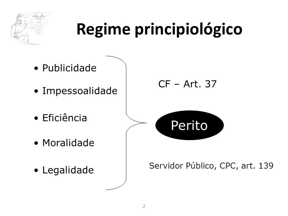 Regime principiológico 2 Publicidade Impessoalidade Eficiência Moralidade Legalidade CF – Art.