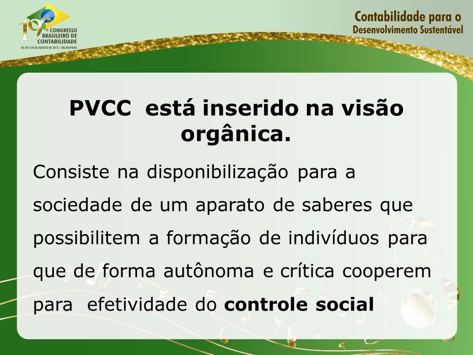 PVCC está inserido na visão orgânica. Consiste na disponibilização para a sociedade de um aparato de saberes que possibilitem a formação de indivíduos