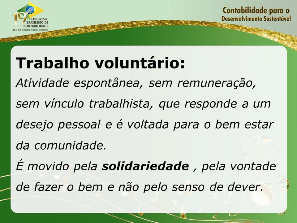Trabalho voluntário: Atividade espontânea, sem remuneração, sem vínculo trabalhista, que responde a um desejo pessoal e é voltada para o bem estar da