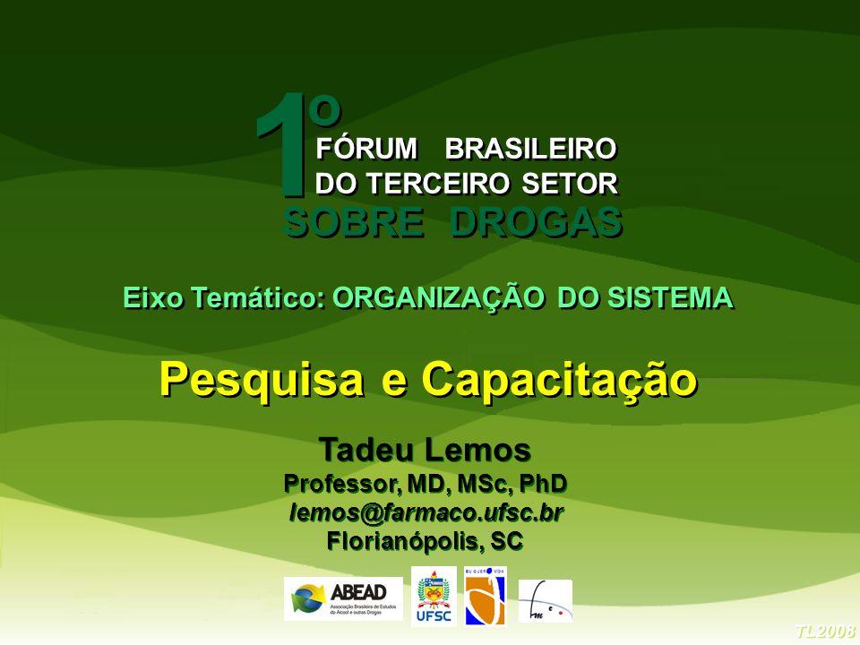 TL2008 Tadeu Lemos Professor, MD, MSc, PhD lemos@farmaco.ufsc.br Florianópolis, SC Tadeu Lemos Professor, MD, MSc, PhD lemos@farmaco.ufsc.br Florianóp