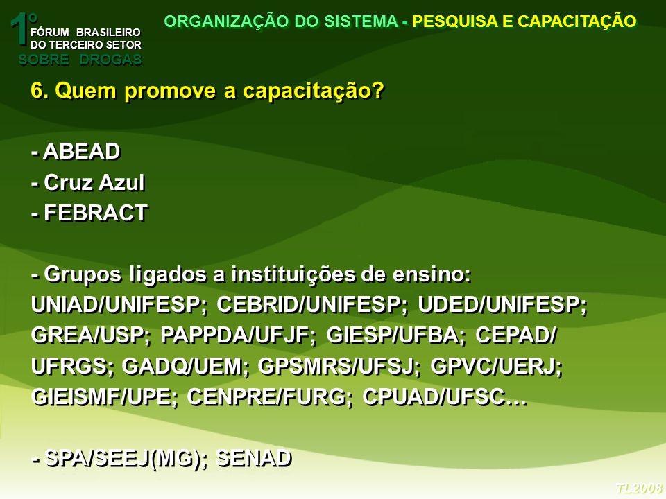 1 1 o o FÓRUM BRASILEIRO DO TERCEIRO SETOR FÓRUM BRASILEIRO DO TERCEIRO SETOR SOBRE DROGAS ORGANIZAÇÃO DO SISTEMA - PESQUISA E CAPACITAÇÃO TL2008 6.