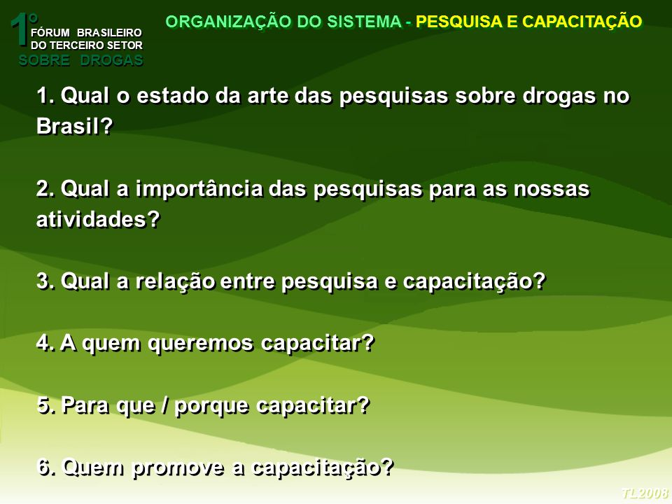 1. Qual o estado da arte das pesquisas sobre drogas no Brasil? 2. Qual a importância das pesquisas para as nossas atividades? 3. Qual a relação entre