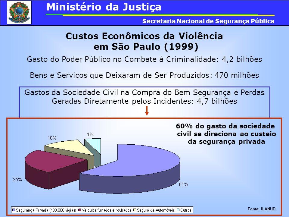 Custos Econômicos da Violência em São Paulo (1999) Gasto do Poder Público no Combate à Criminalidade: 4,2 bilhões Bens e Serviços que Deixaram de Ser