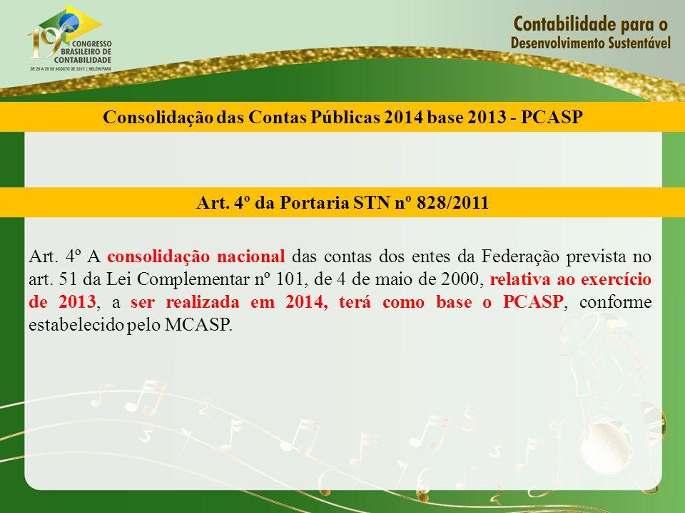Art. 4º da Portaria STN nº 828/2011 Art. 4º A consolidação nacional das contas dos entes da Federação prevista no art. 51 da Lei Complementar nº 101,