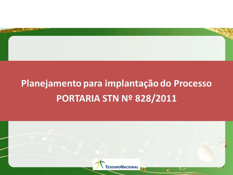 Planejamento para implantação do Processo PORTARIA STN Nº 828/2011