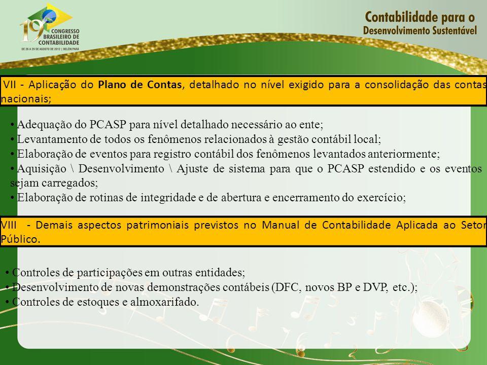VII - Aplicação do Plano de Contas, detalhado no nível exigido para a consolidação das contas nacionais; Adequação do PCASP para nível detalhado neces