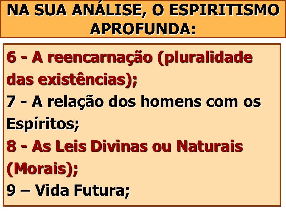6 - A reencarnação (pluralidade das existências); 7 - A relação dos homens com os Espíritos; 8 - As Leis Divinas ou Naturais (Morais); 9 – Vida Futura