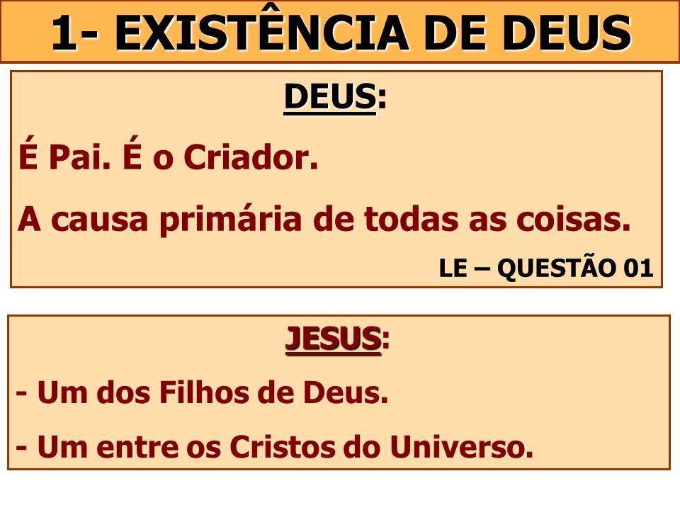 DEUS DEUS: É Pai. É o Criador. A causa primária de todas as coisas. LE – QUESTÃO 01 JESUS JESUS: - Um dos Filhos de Deus. - Um entre os Cristos do Uni