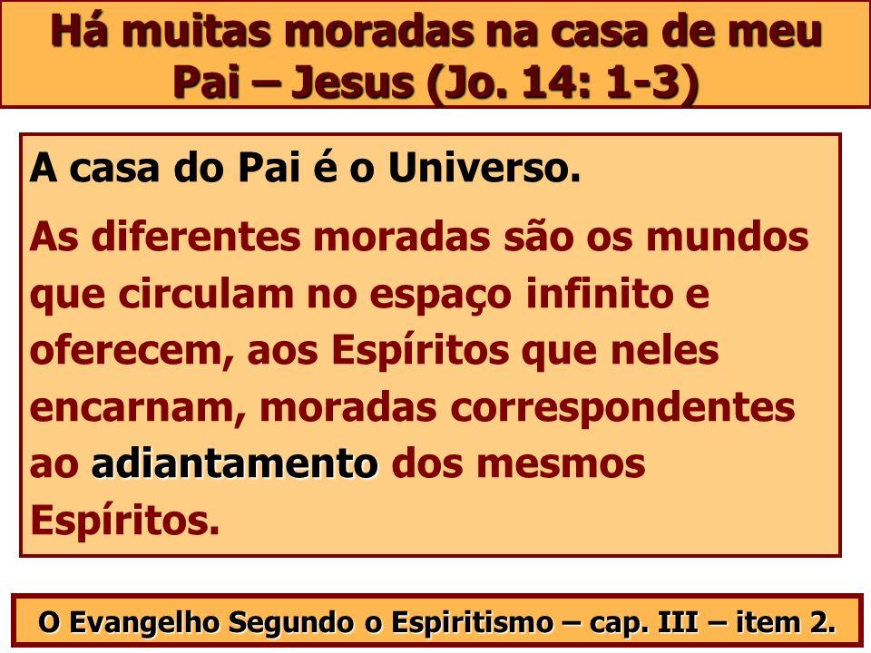 Há muitas moradas na casa de meu Pai – Jesus (Jo. 14: 1-3) A casa do Pai é o Universo. adiantamento As diferentes moradas são os mundos que circulam n