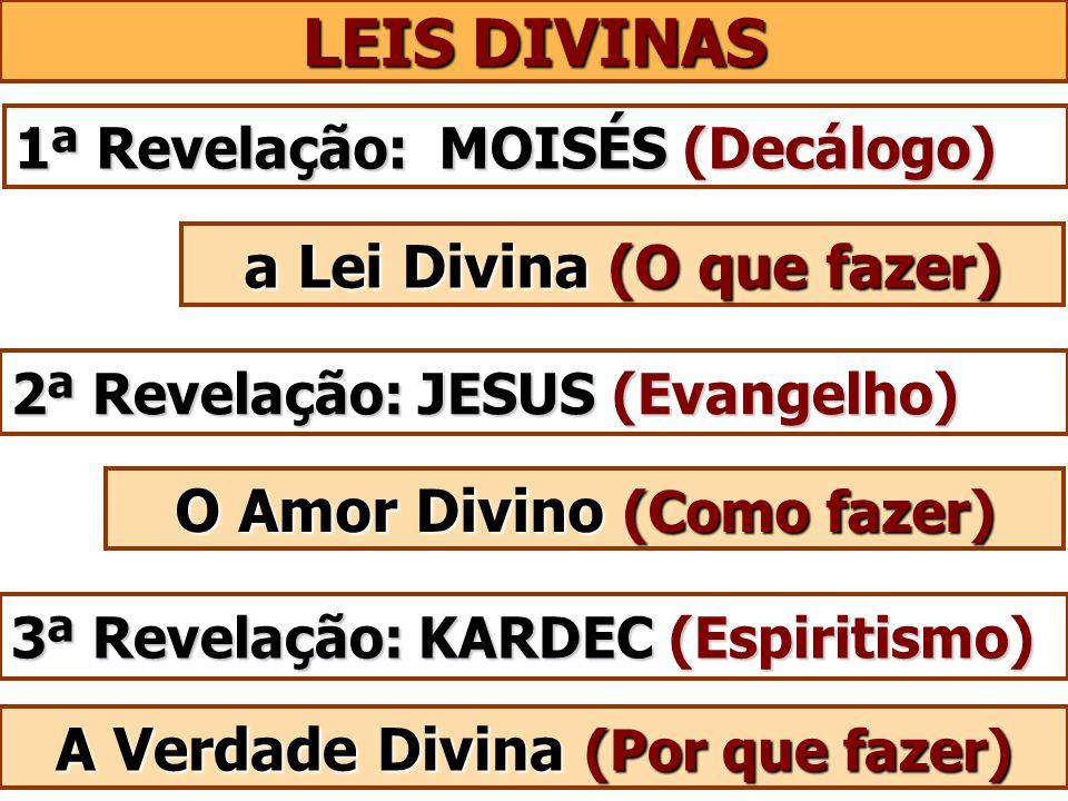 LEIS DIVINAS 1ª Revelação: MOISÉS (Decálogo) 2ª Revelação: JESUS (Evangelho) a Lei Divina (O que fazer) 3ª Revelação: KARDEC (Espiritismo) O Amor Divi
