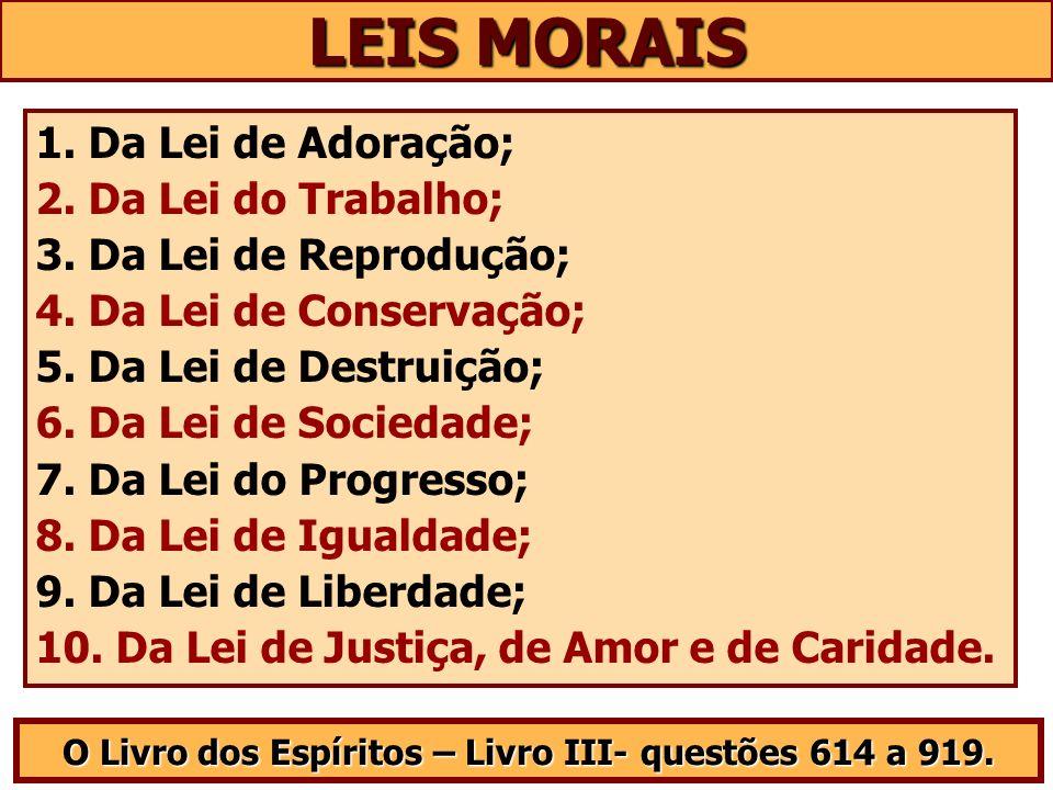 LEIS MORAIS O Livro dos Espíritos – Livro III- questões 614 a 919. 1. Da Lei de Adoração; 2. Da Lei do Trabalho; 3. Da Lei de Reprodução; 4. Da Lei de