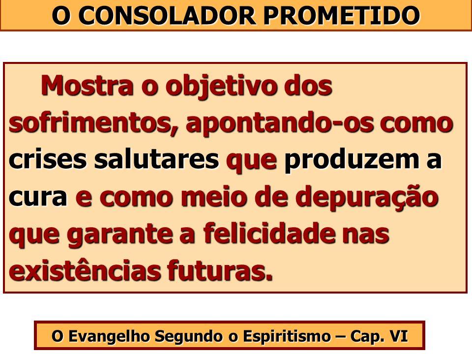 O Evangelho Segundo o Espiritismo – Cap. VI Mostra o objetivo dos sofrimentos, apontando-os como crises salutares que produzem a cura e como meio de d
