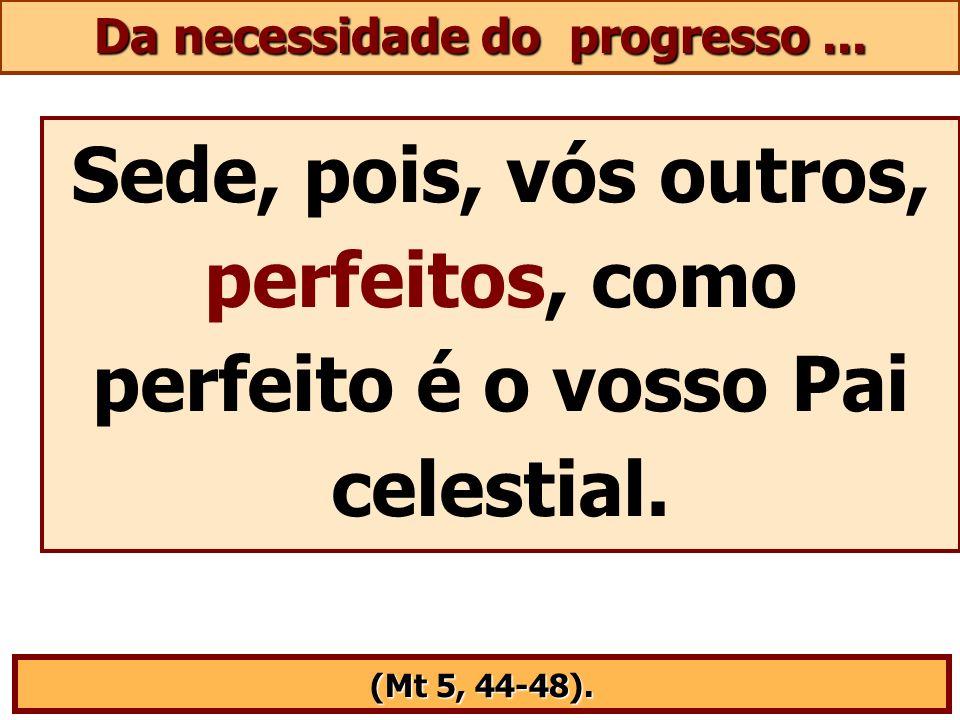 Sede, pois, vós outros, perfeitos, como perfeito é o vosso Pai celestial. (Mt 5, 44-48). Da necessidade do progresso...