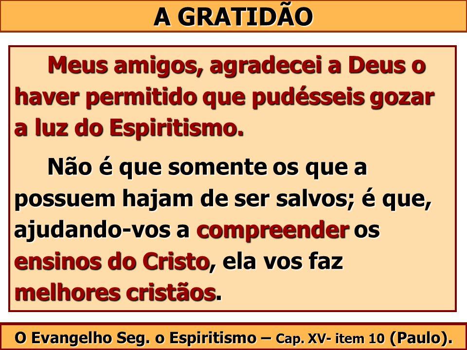 Meus amigos, agradecei a Deus o haver permitido que pudésseis gozar a luz do Espiritismo. Meus amigos, agradecei a Deus o haver permitido que pudéssei