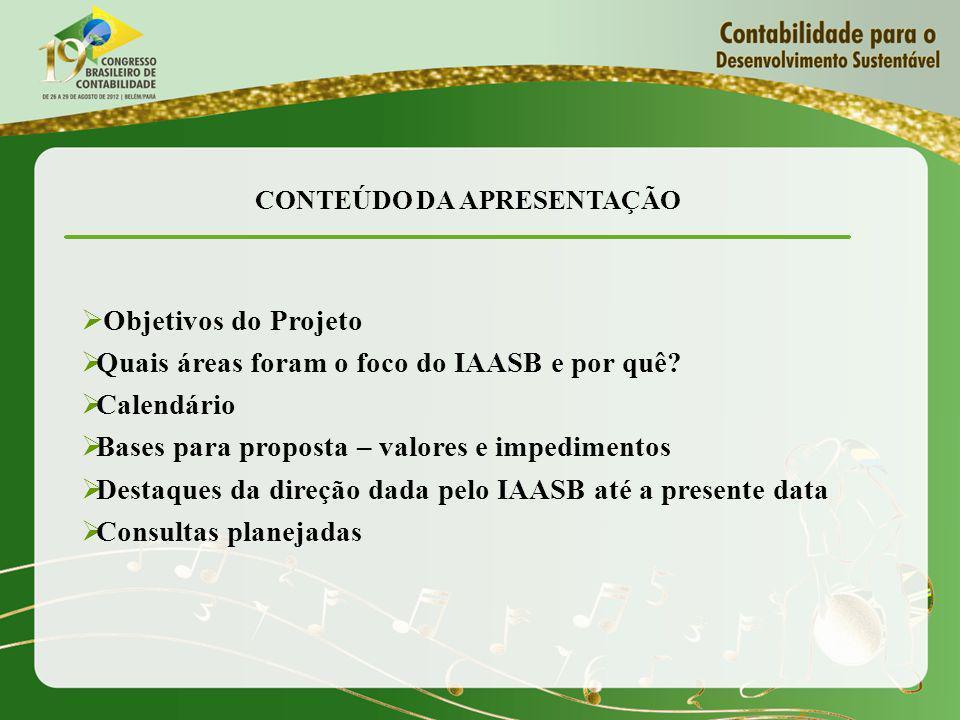 CONTEÚDO DA APRESENTAÇÃO Objetivos do Projeto Quais áreas foram o foco do IAASB e por quê.