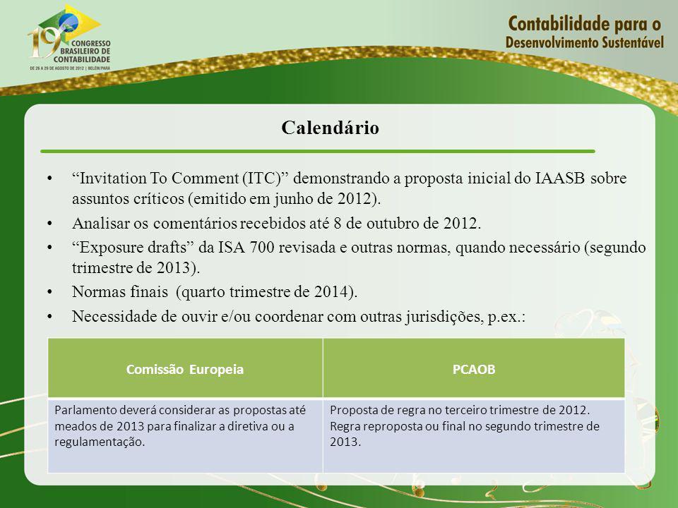 Calendário Invitation To Comment (ITC) demonstrando a proposta inicial do IAASB sobre assuntos críticos (emitido em junho de 2012).