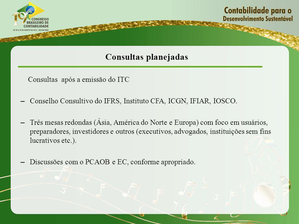 Consultas planejadas Consultas após a emissão do ITC – Conselho Consultivo do IFRS, Instituto CFA, ICGN, IFIAR, IOSCO.
