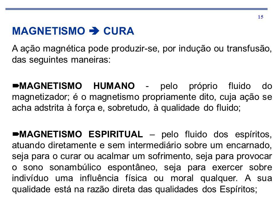 15 A ação magnética pode produzir-se, por indução ou transfusão, das seguintes maneiras: MAGNETISMO HUMANO - pelo próprio fluido do magnetizador; é o magnetismo propriamente dito, cuja ação se acha adstrita à força e, sobretudo, à qualidade do fluido; MAGNETISMO ESPIRITUAL – pelo fluido dos espíritos, atuando diretamente e sem intermediário sobre um encarnado, seja para o curar ou acalmar um sofrimento, seja para provocar o sono sonambúlico espontâneo, seja para exercer sobre indivíduo uma influência física ou moral qualquer.