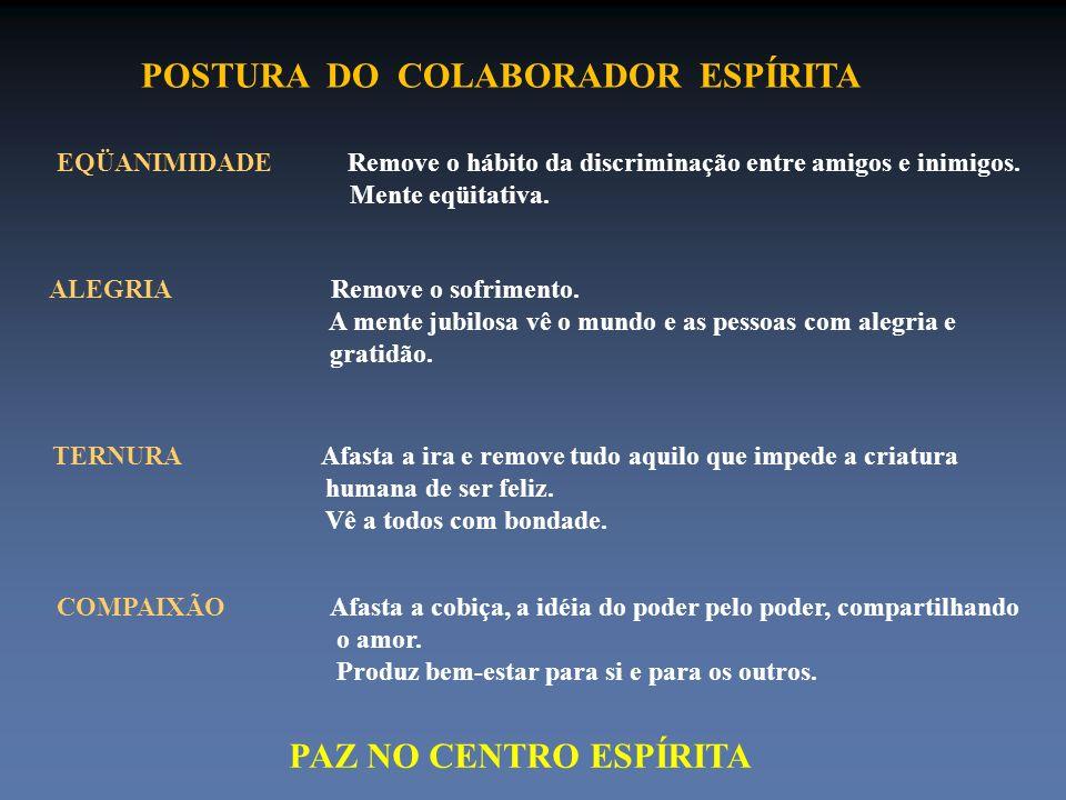 POSTURA DO COLABORADOR ESPÍRITA EQÜANIMIDADE Remove o hábito da discriminação entre amigos e inimigos. Mente eqüitativa. ALEGRIA Remove o sofrimento.