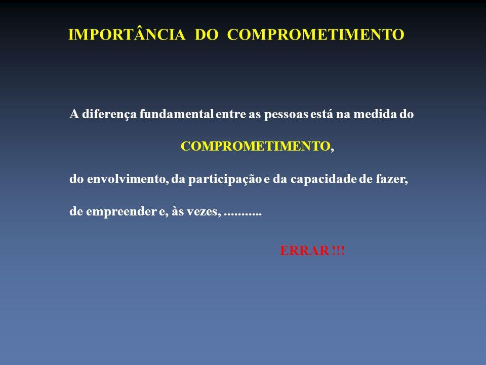 IMPORTÂNCIA DO COMPROMETIMENTO A diferença fundamental entre as pessoas está na medida do COMPROMETIMENTO, do envolvimento, da participação e da capac