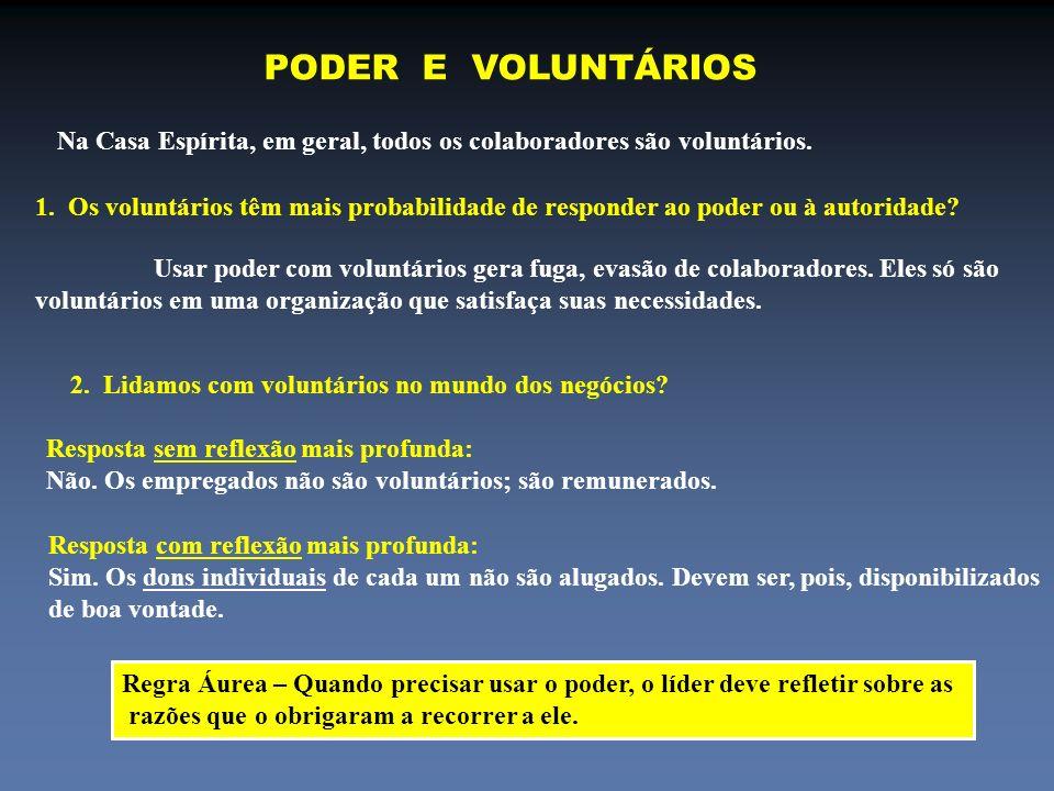 PODER E VOLUNTÁRIOS Na Casa Espírita, em geral, todos os colaboradores são voluntários. 1. Os voluntários têm mais probabilidade de responder ao poder
