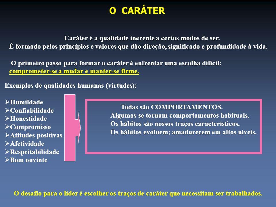 O CARÁTER Caráter é a qualidade inerente a certos modos de ser. É formado pelos princípios e valores que dão direção, significado e profundidade à vid