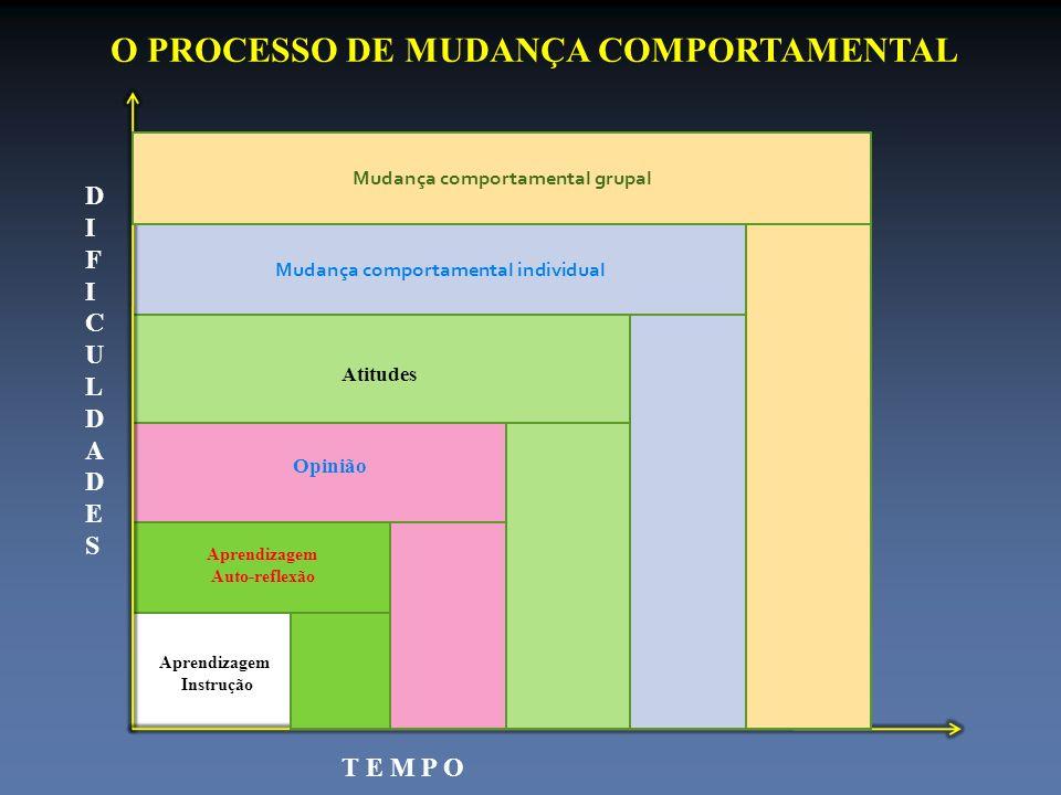 Mudança comportamental individual O PROCESSO DE MUDANÇA COMPORTAMENTAL D I F I C U L D A D E S T E M P O Aprendizagem Instrução Aprendizagem Auto-refl
