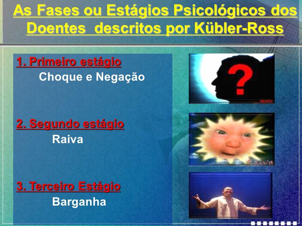 As Fases ou Estágios Psicológicos dos Doentes descritos por Kübler-Ross 1. Primeiro estágio Choque e Negação 2. Segundo estágio Raiva 3. Terceiro Está