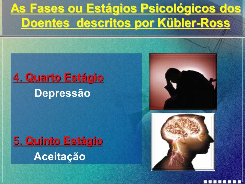 As Fases ou Estágios Psicológicos dos Doentes descritos por Kübler-Ross 4. Quarto Estágio Depressão 5. Quinto Estágio Aceitação