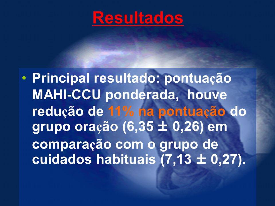 Resultados Principal resultado: pontua ç ão MAHI-CCU ponderada, houve redu ç ão de 11% na pontua ç ão do grupo ora ç ão (6,35 ± 0,26) em compara ç ão