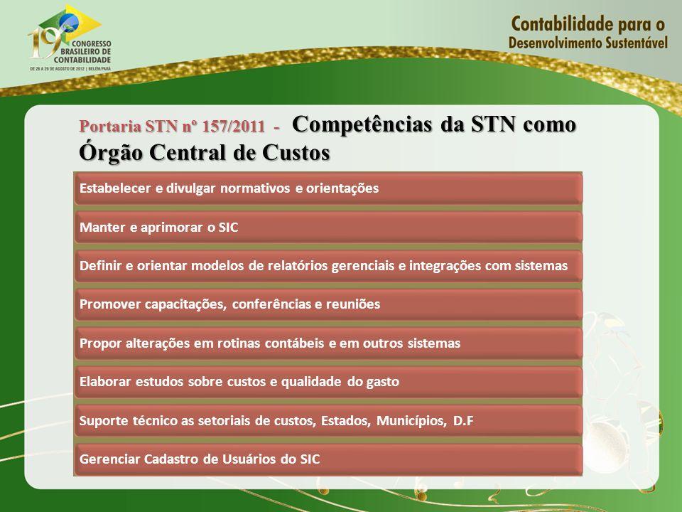 Portaria STN nº 157/2011 - Competências da STN como Órgão Central de Custos Estabelecer e divulgar normativos e orientaçõesManter e aprimorar o SICDef