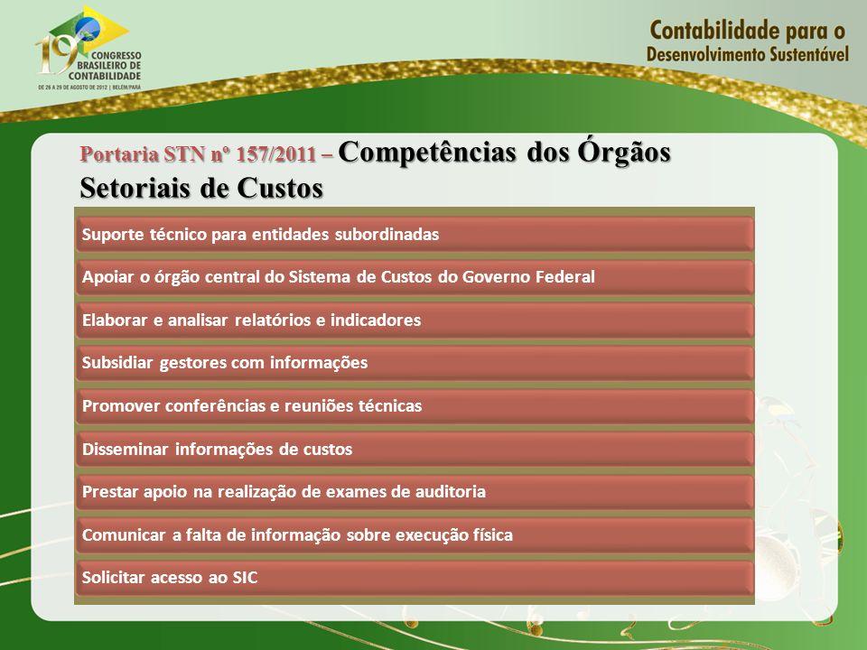 Portaria STN nº 157/2011 – Competências dos Órgãos Setoriais de Custos Suporte técnico para entidades subordinadasApoiar o órgão central do Sistema de