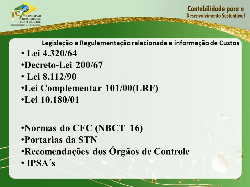 Legislação e Regulamentação relacionada a informação de Custos Lei 4.320/64 Decreto-Lei 200/67 Lei 8.112/90 Lei Complementar 101/00(LRF) Lei 10.180/01 Normas do CFC (NBCT 16) Portarias da STN Recomendações dos Órgãos de Controle IPSA´s