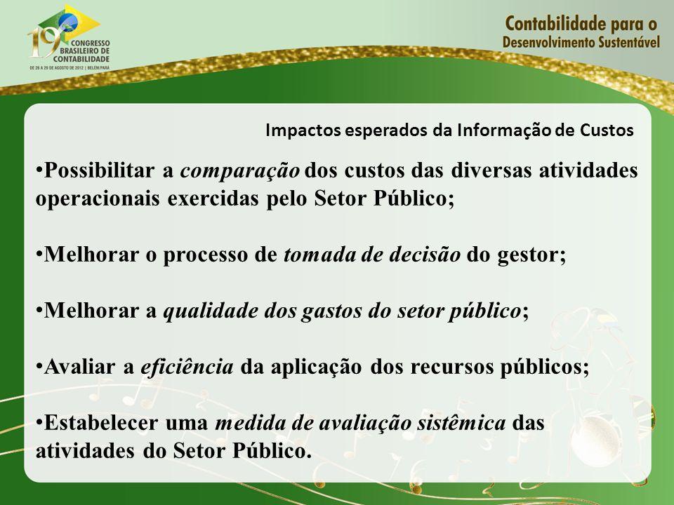 Impactos esperados da Informação de Custos Possibilitar a comparação dos custos das diversas atividades operacionais exercidas pelo Setor Público; Mel