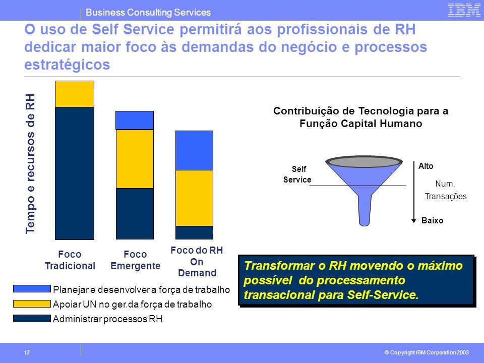 Business Consulting Services © Copyright IBM Corporation 2003 12 O uso de Self Service permitirá aos profissionais de RH dedicar maior foco às demanda