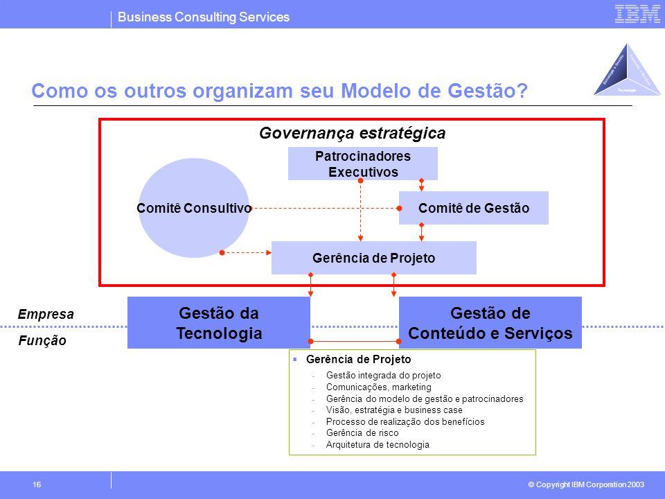 Business Consulting Services © Copyright IBM Corporation 2003 16 Como os outros organizam seu Modelo de Gestão? Gestão da Tecnologia Gestão de Conteúd