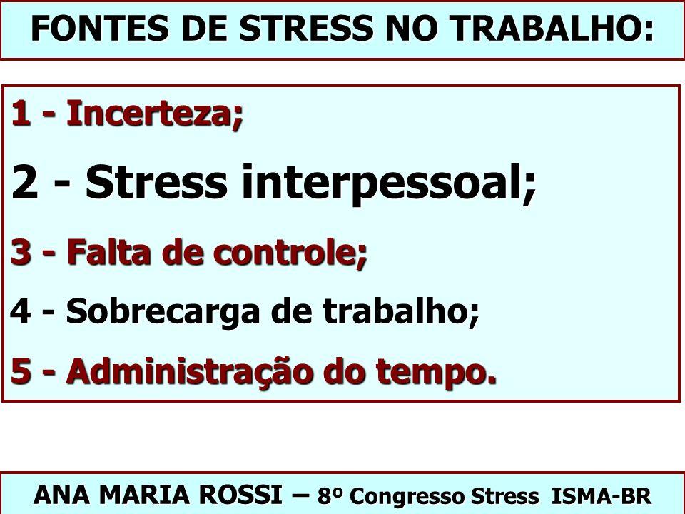 1 - Incerteza; 2 - Stress interpessoal; 3 - Falta de controle; 4 - Sobrecarga de trabalho; 5 - Administração do tempo. ANA MARIA ROSSI – 8º Congresso