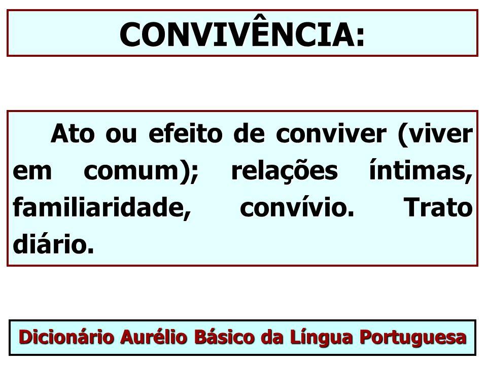 CONVIVÊNCIA: Ato ou efeito de conviver (viver em comum); relações íntimas, familiaridade, convívio. Trato diário. Ato ou efeito de conviver (viver em