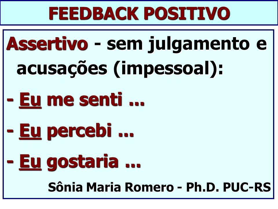 FEEDBACK POSITIVO Assertivo - sem julgamento e acusações (impessoal): - Eu me senti... - Eu percebi... - Eu gostaria... Sônia Maria Romero - Ph.D. PUC