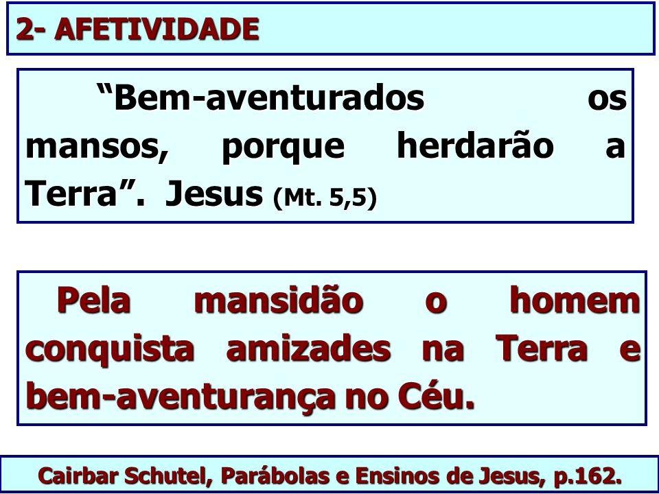 Cairbar Schutel, Parábolas e Ensinos de Jesus, p.162. Pela mansidão o homem conquista amizades na Terra e bem-aventurança no Céu. Pela mansidão o home