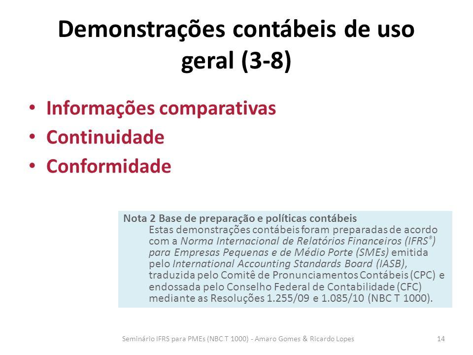 Demonstrações contábeis de uso geral (3-8) Informações comparativas Continuidade Conformidade Seminário IFRS para PMEs (NBC T 1000) - Amaro Gomes & Ri
