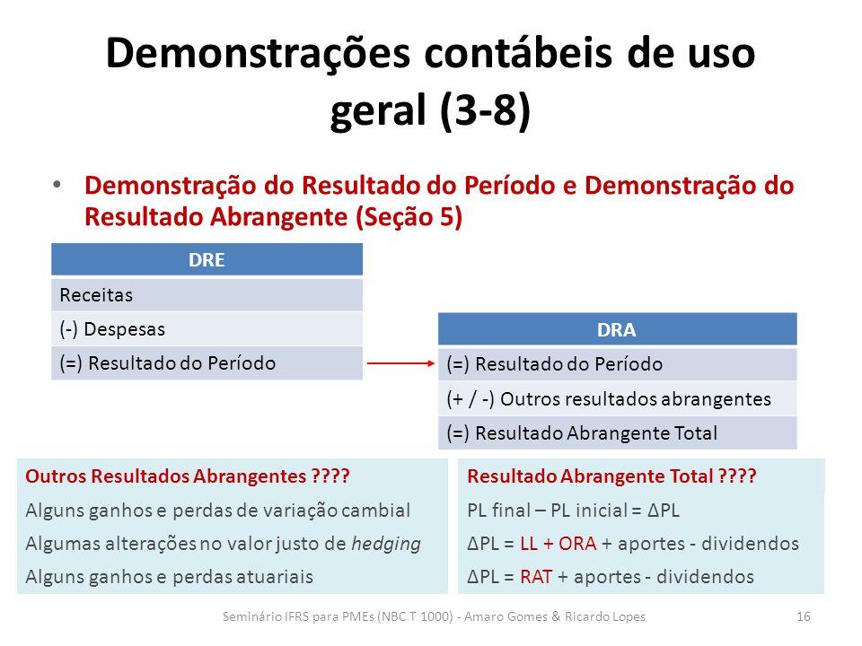 Demonstrações contábeis de uso geral (3-8) Demonstração do Resultado do Período e Demonstração do Resultado Abrangente (Seção 5) Seminário IFRS para P